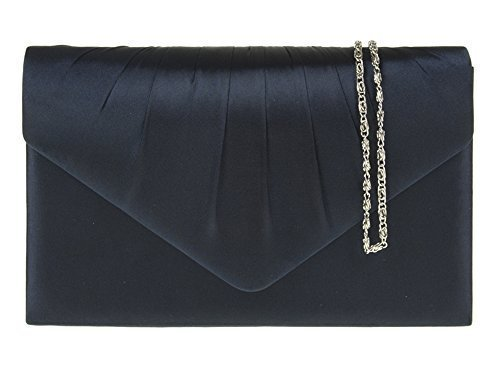 CLUTCH PARTY Navy DIVA'S EVENING ENVELOPE Blue SATIN PLEATED BRIDAL SMALL FOR WOMENS HAUTE HANDBAG RqFSvw