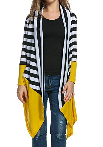 Women's Casual Long Sleeve Open Front Striped Asymmetrical Hem Cardigan, Yellow, Small (Striped Cardigans For Women)