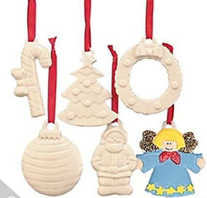 Fun Express Paint Your Own Ceramic Patterned Christmas Ornaments 1 Dozen