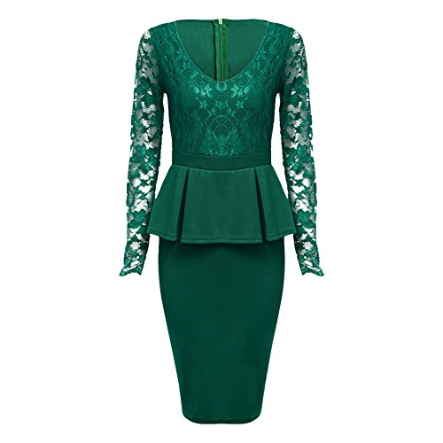 KCatsy Sexy V Neck Long Sleeve See-Through Lace Spliced Bodycon Women Dress -