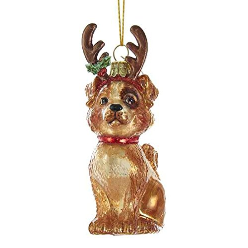 Noble Gems Mixed Breed Dog with Antlers Glass Ornament