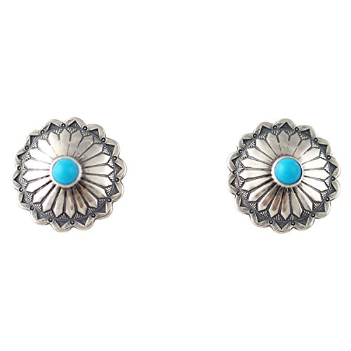 Turquoise Round Concho Post Earrings Silver ()
