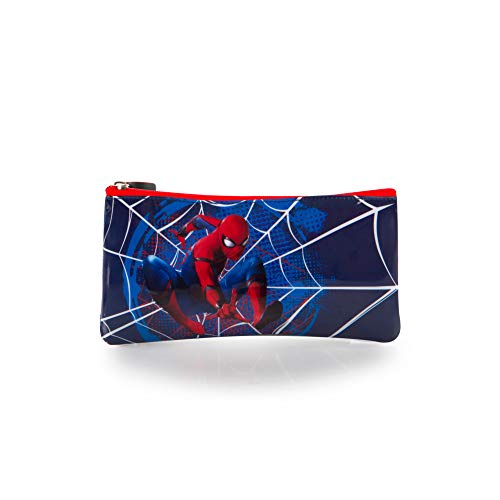 Marvel Spiderman Basic Pencil Case for Kids - 4 Inch Boys Pencil Pouch [Blue] -