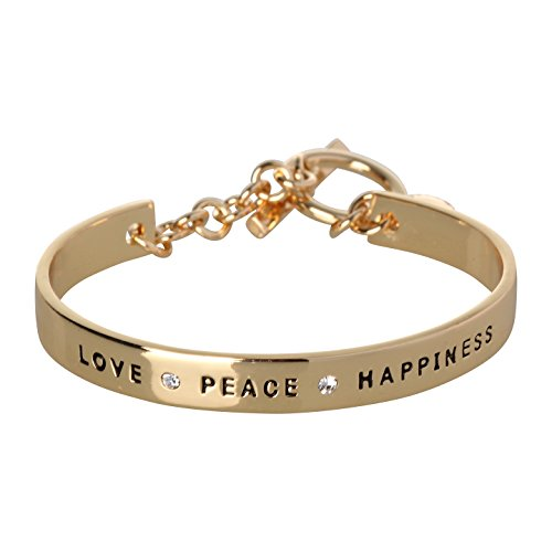 BCBG Generation 12k Crystal Love Peace Happiness Cuff Bracelet