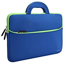 Evecase 13.3- 14 inch Laptop Neoprene Sleeve Case Bag with Handle and Accessory Pocket - Blue with Green Trim