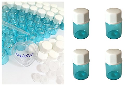 Elufly 1/4 Dram Sky Blue Glass Vial 1ML Oil Bottles- Screw Cap +Orifice Reducer+Bottles+White Cotton Piece 60-120 Units (60, Sky Blue)