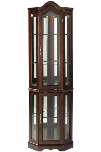 Dining Room Wide Cabinet - Lighted Corner Curio Cabinet - Mahogany Wood Finish - Three Tier Adjustable Shelves