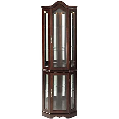 Lighted Corner Curio Cabinet - Mahogany Wood Finish - Three Tier Adjustable Shelves