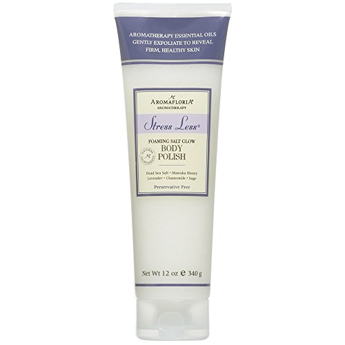 (Aromafloria Aromatherapy Collection Stress Less Foaming Salt Glow Polish, Lavender/Chamomile/Sage, 12.0 Ounce)