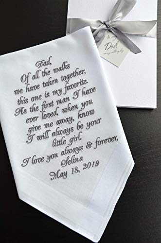 Wedding Day Letter To Bride.Amazon Com Personalized Handkerchief Father Of The Bride