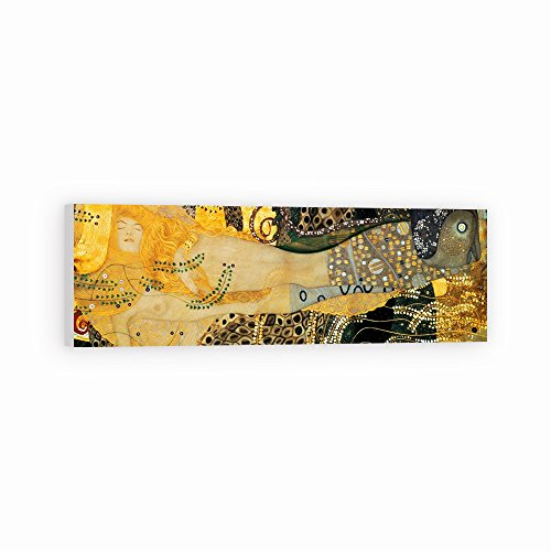 (DìMò ART Canvas Print Wall Art Klimt Gustav Water Serpents I size 59x 20 (150x50 CM) with white border 2 (5 CM))