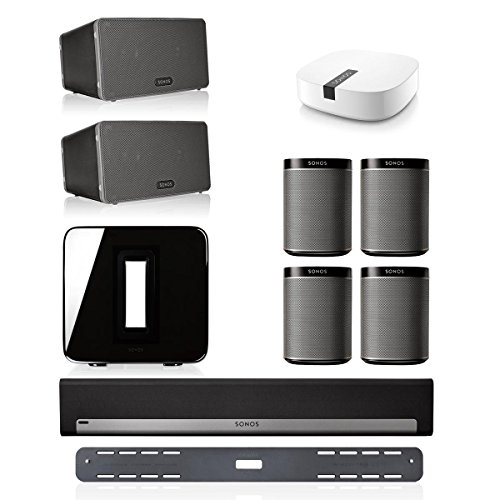 Price comparison product image Sonos PLAYBAR Multi-Room Whole House Home Theater System with PLAY:1 Speakers,  PLAY:3 Speaker,  and SUB Wireless Subwoofer (Black)