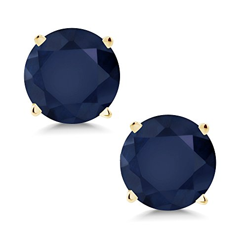 - Gem Stone King 14K Yellow Gold Blue Sapphire Women's Stud Earrings Gemstone Birthstone 2.00 Ctw Round 6MM