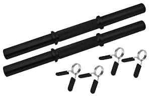 BLK - Barras cortas para mancuernas, 40 cm, incluye fijaciones de muelle de 30 y 31 mm, superficie lisa, color negro