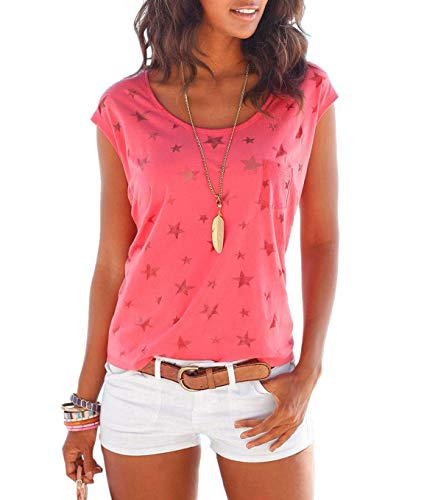 (TrendiMax Women Summer Loose Short Sleeve Star Printed Casual T-Shirt Blouse Tops Red)