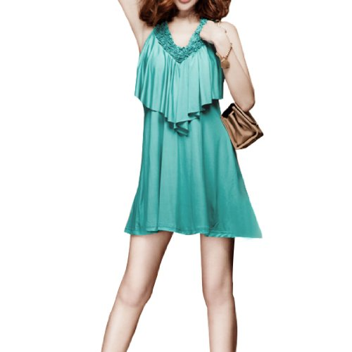 sourcingmap® Damen Rüschen Top Design Verzierter Ausschnitt Minikleid Aqua XS - Blau, Damen, XS