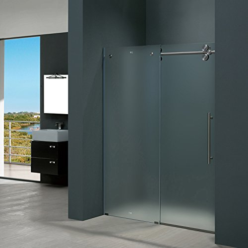 VIGO Elan 56 to 60-in. Frameless Sliding Shower Door  with .375-in. Frosted Glass and Stainless Steel Hardware (Right-Sided Door)