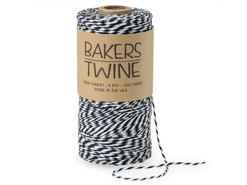 Pack Of 1, Solid Black & White Baker'S Twine 240 Yds 4-Ply (2-Ply Black & 2-Ply White) 100% Cotton Made In USA by Generic