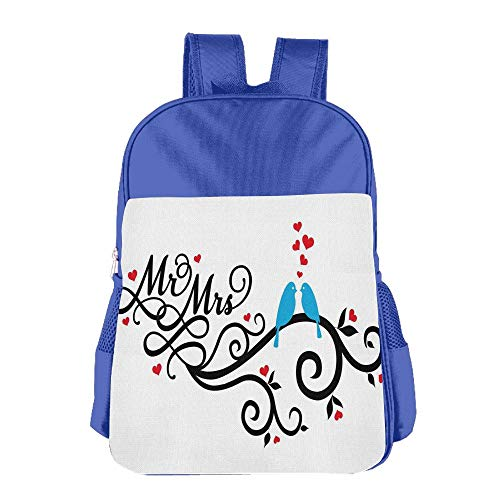 Haixia Kids Boy's&Girl's Backpack Wedding Decorations Mr. and Mrs. Swirled Branches with Red Hearts and Two Love Birds Red Blue Black by Haixia