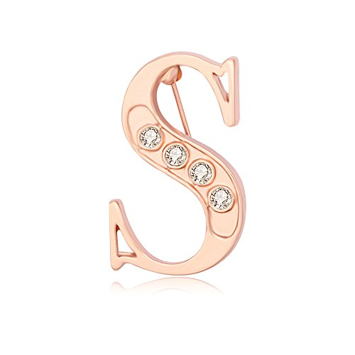 NOUMANDA Rose Gold Plated Fashion 26 Charm Initial Letters Brooch Crystal Pins Big brooches Letter C D K broches (S)