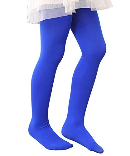 [Zando Girls Stretchy Comfort Cotton Colorful Leggings Pants Elastic Footed Tight Royal Blue Medium] (Kids Natural Leopard Costumes)
