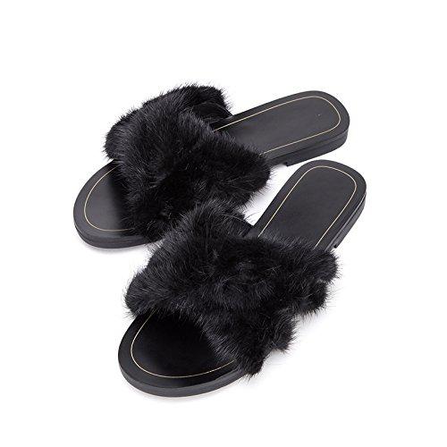 Color Negro Tacón DHG Sólido Planas Punta de Sandalias Dulces Sandalias Sandalias Mujer Altos Zapatillas de 38 bajo Verano Moda de de Ocasionales de de Tacones qHgarfqw