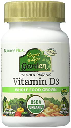 Natures Plus Source of Life Garden Organic Vitamin D3 (Cholecalciferol) - 5000 IU, 60 Vegan Capsules - Gluten Free, Whole Food, Plant Based Supplement - Bone & Immune System Support - 30 Servings