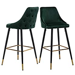 Kitchen ZHENGHAO Tufted Velvet Bar Stools with Metal Footrest Legs, Modern Kitchen Dining Bar Chairs (Set of 2 Green) modern barstools