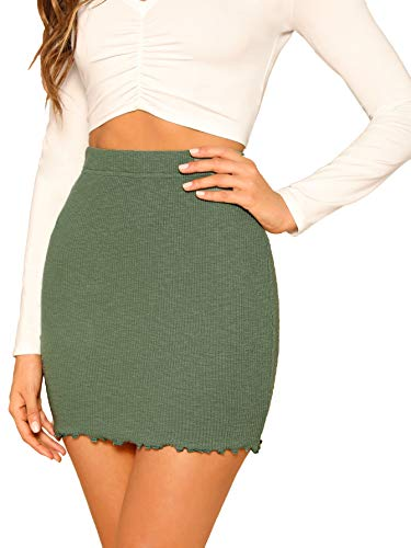 SheIn Women's Ribbed-Knit Stretchy Cotton Short Mini Pencil Bodycon Skirt Army Green ()