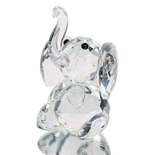 (H&D Crystal Cute Elephant Figurine Collection Cut Glass Ornament Statue Animal)