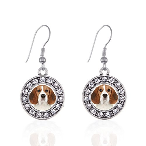 Inspired Silver - Beagle Face Charm Earrings for Women - Silver Circle Charm French Hook Drop Earrings with Cubic Zirconia - Beagle Face