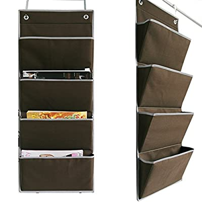 Microtimes Wall Mount /Over the Door Oxford fabric Collapsible File Organizer Hanging Folder Document Bag Magazine Storage (4 Pockets, Coffee) from Microtimes