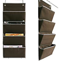 Microtimes Wall Mount /Over the Door Oxford fabric Collapsible File Organizer Hanging Folder Document Bag Magazine Storage (4 Pockets, Coffee)