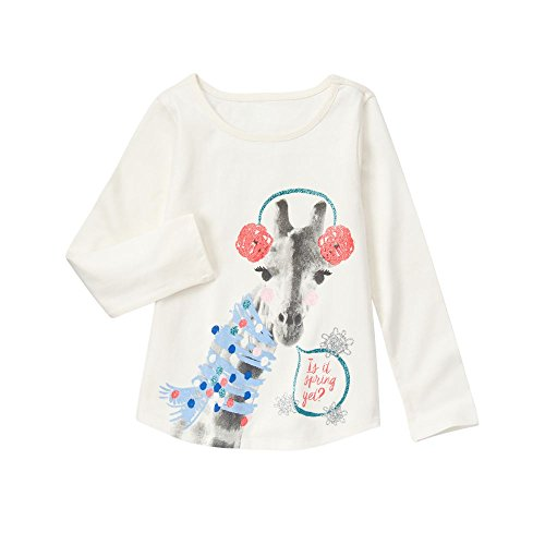 Gymboree Big Girls' Long Sleeve Giraffe Graphic Tee, Snow Bunny, (Gymboree Giraffe)