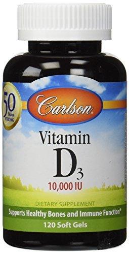 Carlson Labs, Vitamin D3, 10,000 IU, 120 Soft Gels by Carlson -