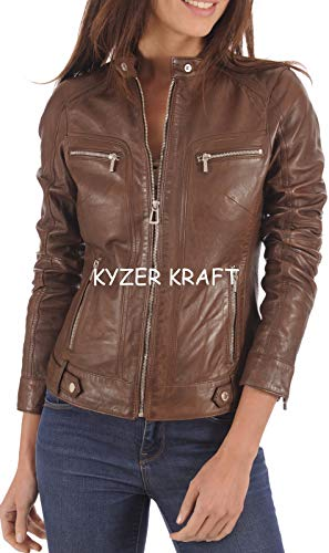 KYZER KRAFT Womens Leather Jacket Bomber Motorcycle Biker Real Lambskin Leather Jacket for Womens (Best Motorcycle For Women)