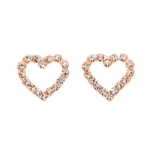 14K Gold, Rose Gold, or Rhodium Plated Open Heart Stud Earrings with White Crystals (Open Earrings Polished Heart)