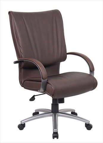 Boss High Back Bomber Brown Leather Plus Chair With Chorme (High Back Brown Bomber)
