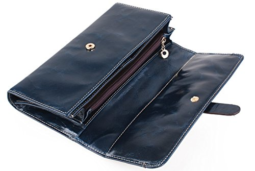 Tibes donne vera pelle portafoglio lusso borsa Blue