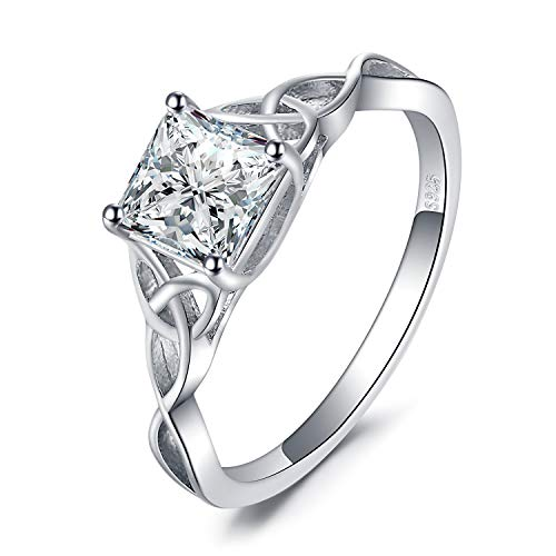 JewelryPalace Infinity Celtic Knot Princess Cut Cubic Zirconia Solitaire Engagement Ring 925 Sterling Silver (Celtic Knot Engagement Ring, 6.5) (Celtic Knot Design Ring)