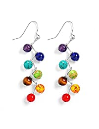 PWMEN Women 7 Chakra Lava Rock Stone Beads Yoga Reiki Healing Energy Balancing Long Dangle Hook Earrings
