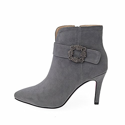 CXQ-Boots qin&X Women's Stiletto High Heels Pointed Toe Ankle Boots Shoes Grey o98cQ8