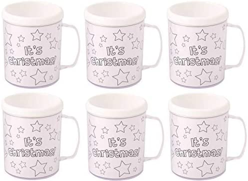 Colour Your Own Arts /& Crafts 6 x Christmas Time Colouring Mugs