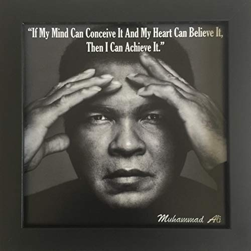 Framed Inspirational Famous Quote Photo Muhammad Ali 9x9 Desk or Wall Mount (Famous Quotes Pictures)