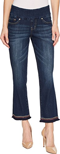 Jag Jeans Womens Peri Straight Pull-On Ankle Jeans w/Embroidery Larkspur 12 26