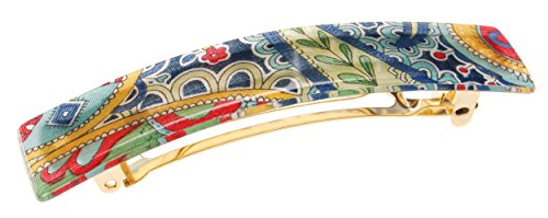 France Luxe Classic Rectangle Barrette - Macie Blue