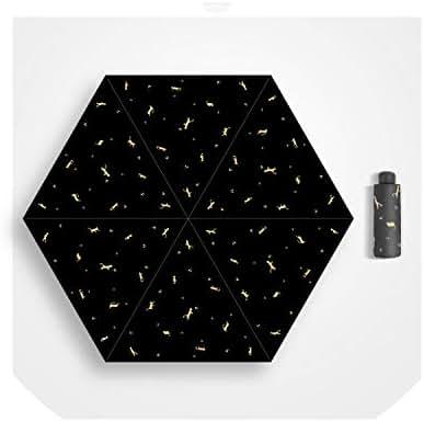 Pocket Mini Umbrella Sunscreen Anti UV Five Folding Umbrella Rain Women Men Windproof Light Lovely Outdoor Parasol,Black