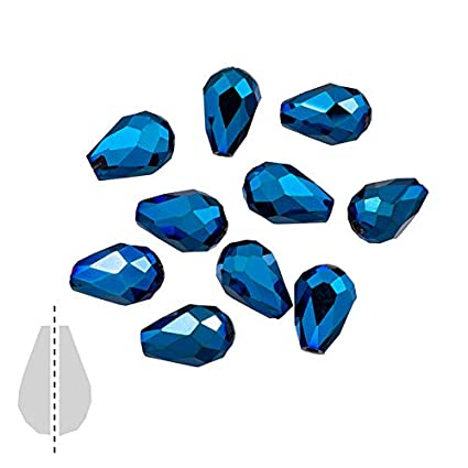 Pcs Crafts Czech Crystal Glass Faceted Round Drop Beads 6 x 8mm Blue//Black 50