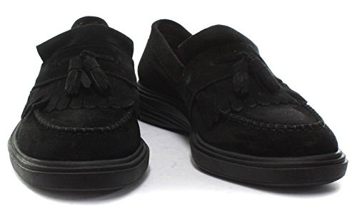 Royce Black Mens On London Shoes Black Sole Suede Slip Loafers Brogues AxwcH7T5