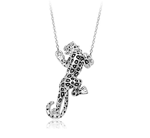 White Gold Plated Stunning Luxury Leopard Clear Black Jaguar Spots Cubic Zirconia Crystal Necklace Fashion Jewelry for Women